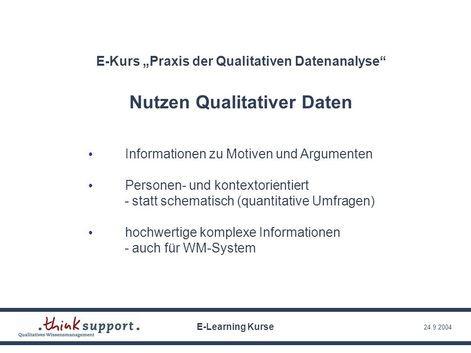 24.9.2004 Informationen zu Motiven und Argumenten Personen- und kontextorientiert - statt schematisch (quantitative Umfragen) hochwertige komplexe Inf