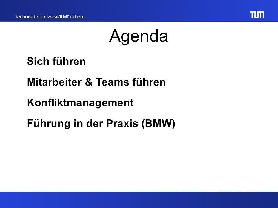 Technische Universität München Agenda Sich führen Mitarbeiter & Teams führen Konfliktmanagement Führung in der Praxis (BMW)