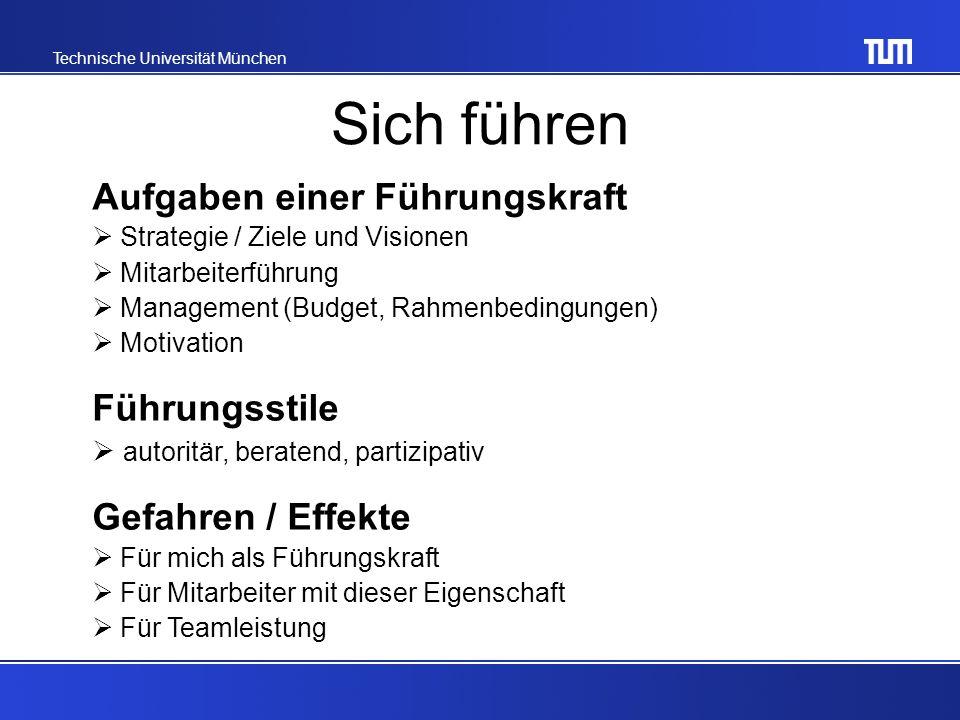 Technische Universität München Sich führen Aufgaben einer Führungskraft Strategie / Ziele und Visionen Mitarbeiterführung Management (Budget, Rahmenbedingungen) Motivation Führungsstile autoritär, beratend, partizipativ Gefahren / Effekte Für mich als Führungskraft Für Mitarbeiter mit dieser Eigenschaft Für Teamleistung