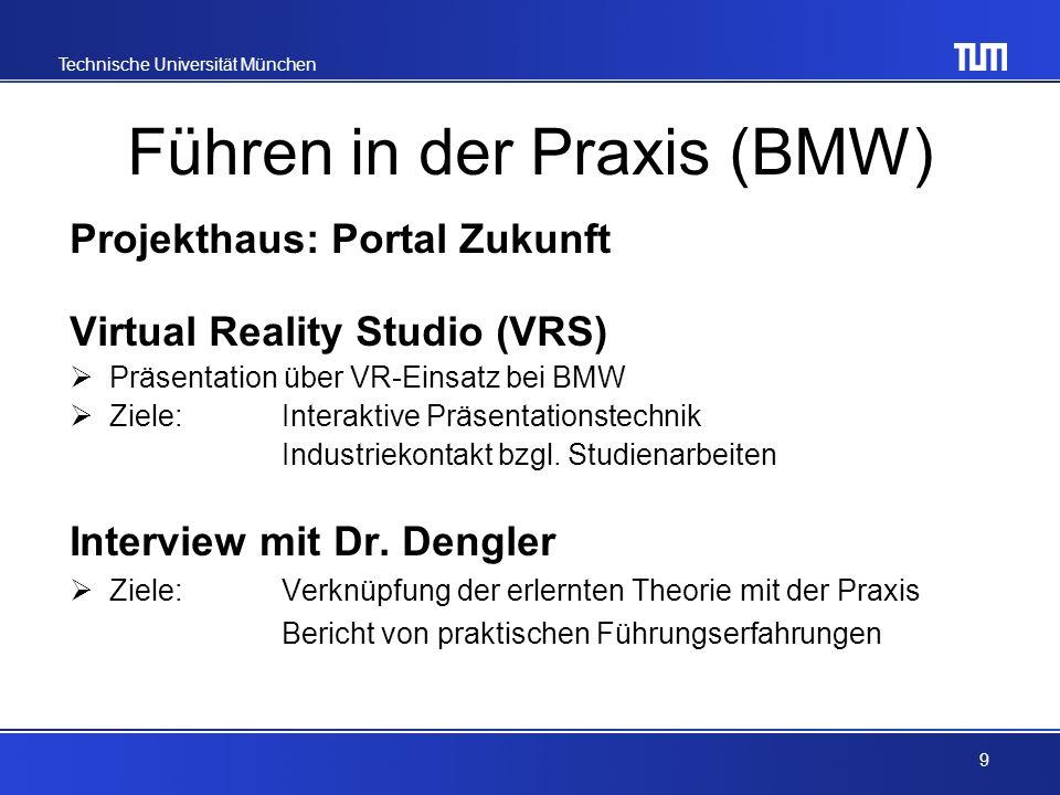 Technische Universität München Führen in der Praxis (BMW) Projekthaus: Portal Zukunft Virtual Reality Studio (VRS) Präsentation über VR-Einsatz bei BMW Ziele: Interaktive Präsentationstechnik Industriekontakt bzgl.