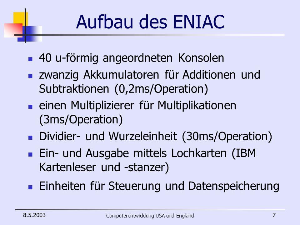 8.5.2003 Computerentwicklung USA und England 8 ENIAC