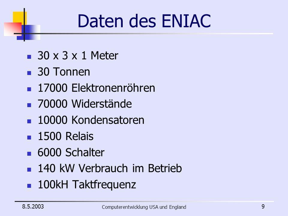 8.5.2003 Computerentwicklung USA und England 10 Verwendung des ENIAC Löste Aufgaben sehr schnell 100 Ingenieure ~ 1 Jahr --> ENIAC ~ 2 Stunden Programmierung durch Stecken von Verbindungen Programmierung dauerte länger als Lösung der Aufgabe 2 Wochen Programmieraufwand für 2 Stunden Rechenzeit benötigte Dateneingabe über Lochkarten Ziel = schnellere Programmeingabe