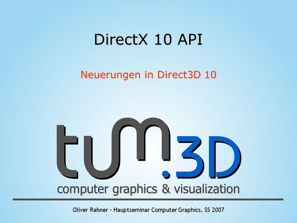 Oliver Rahner – Hauptseminar Computer Graphics, SS 2007 computer graphics & visualization DirectX 10 API Neuerungen in Direct3D 10