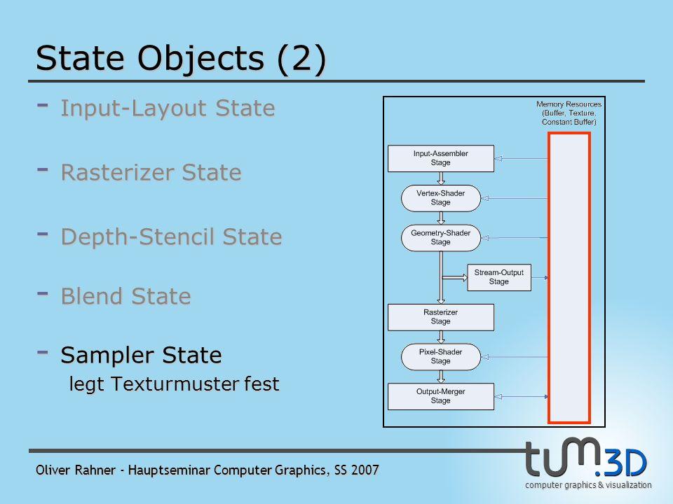 computer graphics & visualization Oliver Rahner - Hauptseminar Computer Graphics, SS 2007 State Objects (2) - Input-Layout State - Rasterizer State - Depth-Stencil State - Blend State legt fest, wie PS-Ausgabe und Renderziel von der OM-Stage vermischt werden - Sampler State