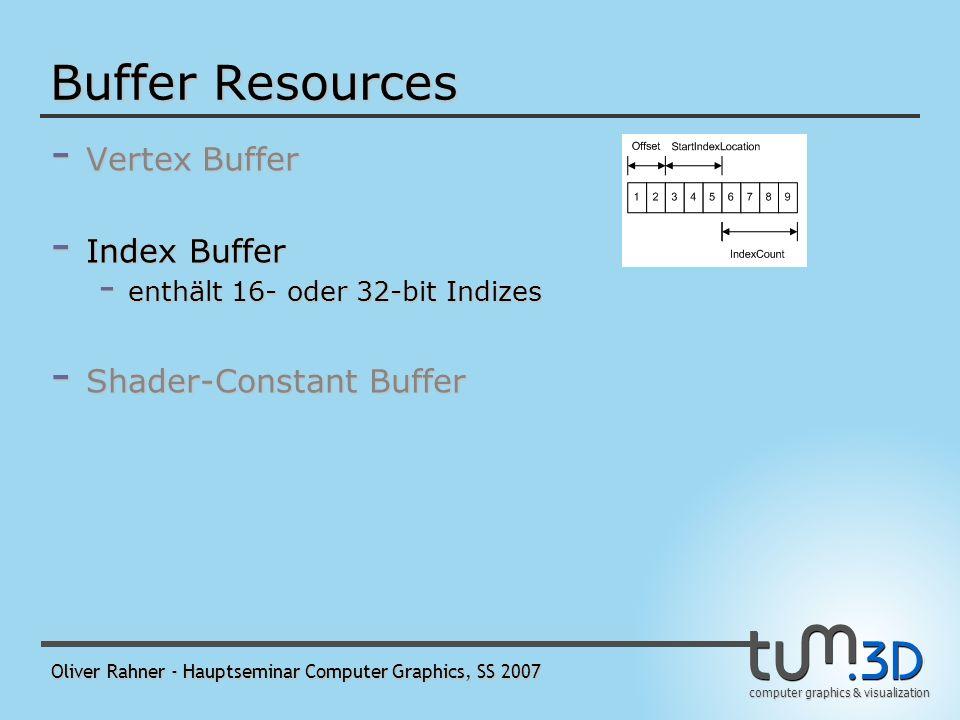 computer graphics & visualization Oliver Rahner - Hauptseminar Computer Graphics, SS 2007 Buffer Resources - Vertex Buffer - wird vom Input-Assembler zu Primitiven zusammengesetzt - alle Werte im Vertex Buffer müssen den gleichen Typ haben - Index Buffer - Shader-Constant Buffer