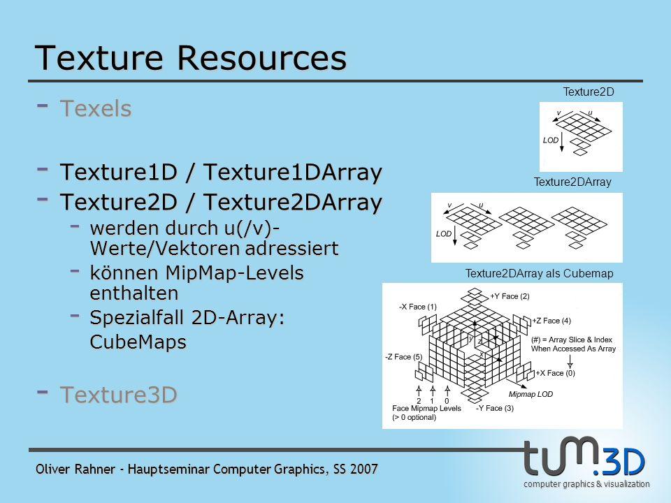 computer graphics & visualization Oliver Rahner - Hauptseminar Computer Graphics, SS 2007 Texture Resources - Texels - kleinste Einheit einer Texture, die von der Pipeline gelesen/geschrieben werden kann - 1 bis 4 Komponenten, je nach ausgewählten DXGI- Format angeordnet (z.B.