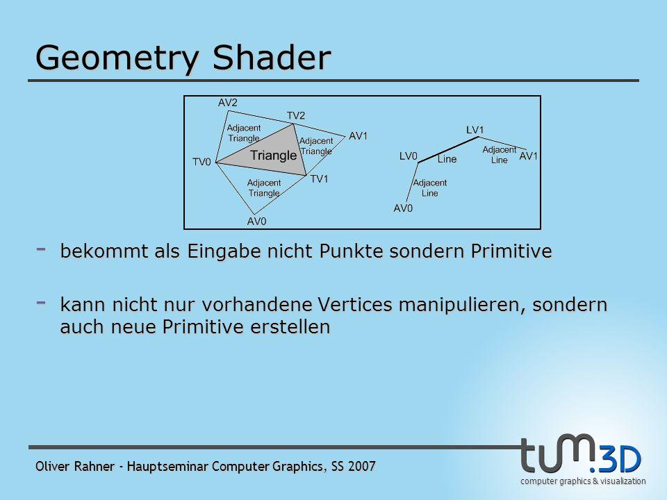 computer graphics & visualization Oliver Rahner - Hauptseminar Computer Graphics, SS 2007 Geometry Shader - bekommt als Eingabe nicht Punkte sondern Primitive - kann nicht nur vorhandene Vertices manipulieren, sondern auch neue Primitive erstellen