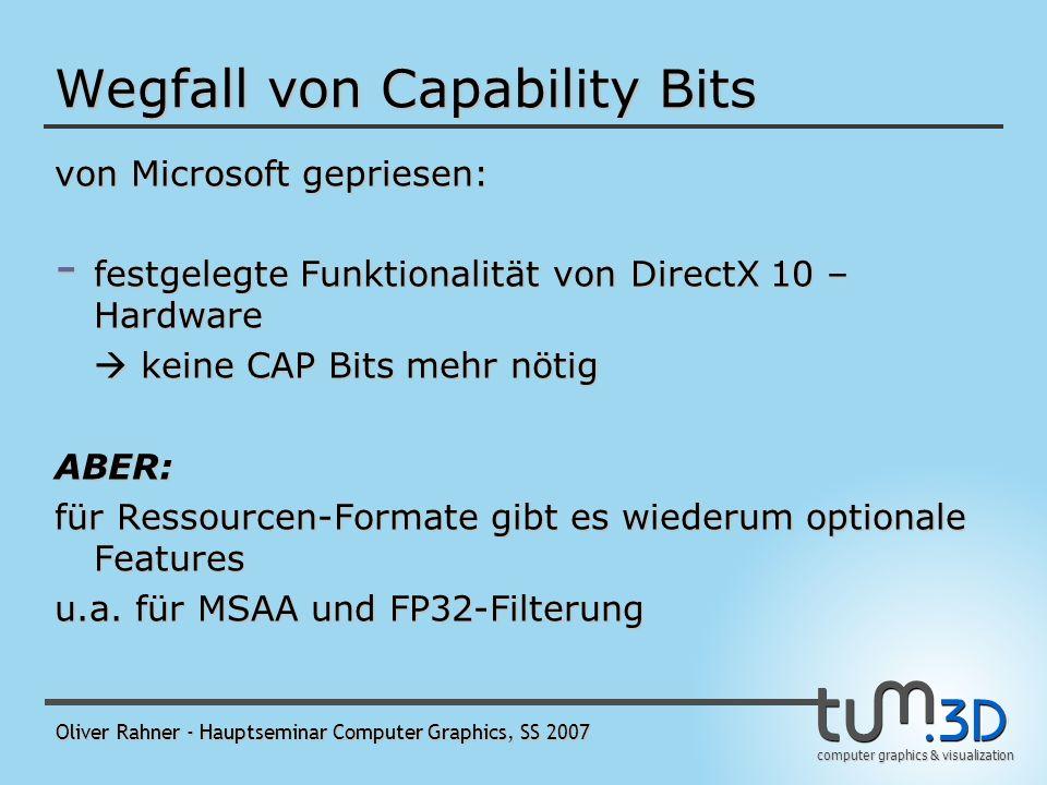 computer graphics & visualization Oliver Rahner - Hauptseminar Computer Graphics, SS 2007 Neuerungen in Direct3D 10 Wegfall von Capability Bits