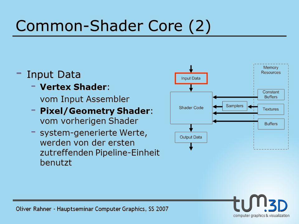 computer graphics & visualization Oliver Rahner - Hauptseminar Computer Graphics, SS 2007 Common-Shader Core (1) - Gedanke: alle Shader-Arten bieten dieselbe Grundfunktionalität