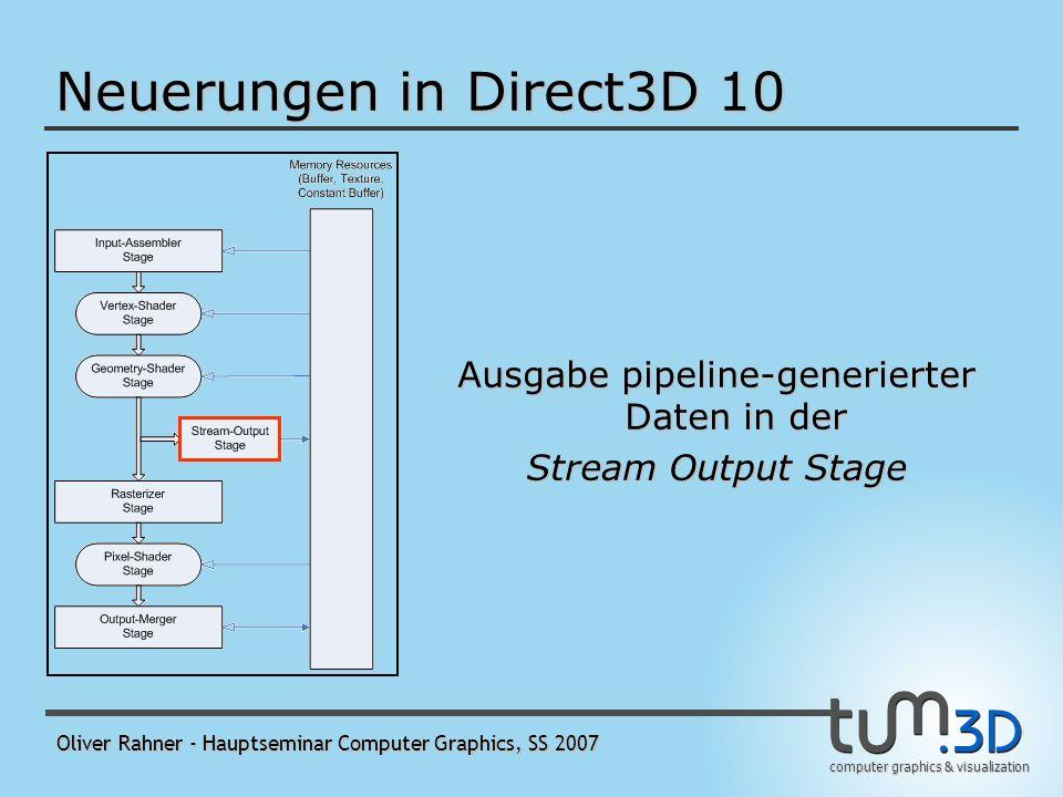 computer graphics & visualization Oliver Rahner - Hauptseminar Computer Graphics, SS 2007 Runtime Layers ermöglicht beim Erzeugen eines D3D10-Devices, die Funktionalität in Schichten anzugeben - Core Layer - Debug Layer - ermöglicht Parameter- und Konsistenzvalidierung - erzeugt Debugausgaben - wie üblich: Device mit Debug Layer läuft merklich langsamer - Switch-To-Reference Layer - Thread-Safe Layer