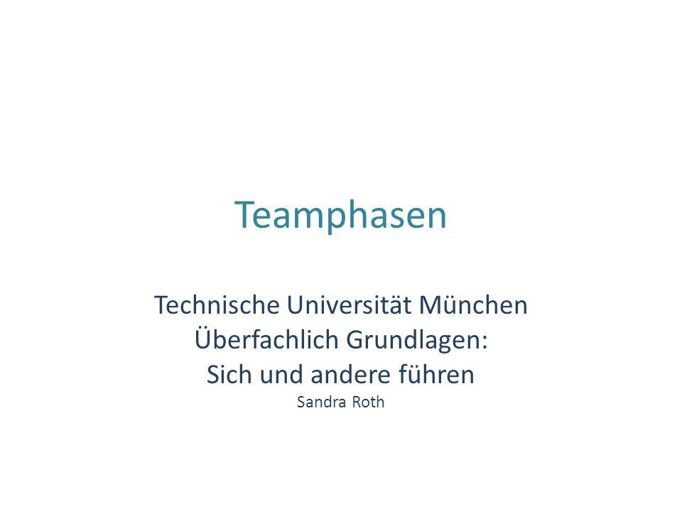 Teamphasen Technische Universität München Überfachlich Grundlagen: Sich und andere führen Sandra Roth