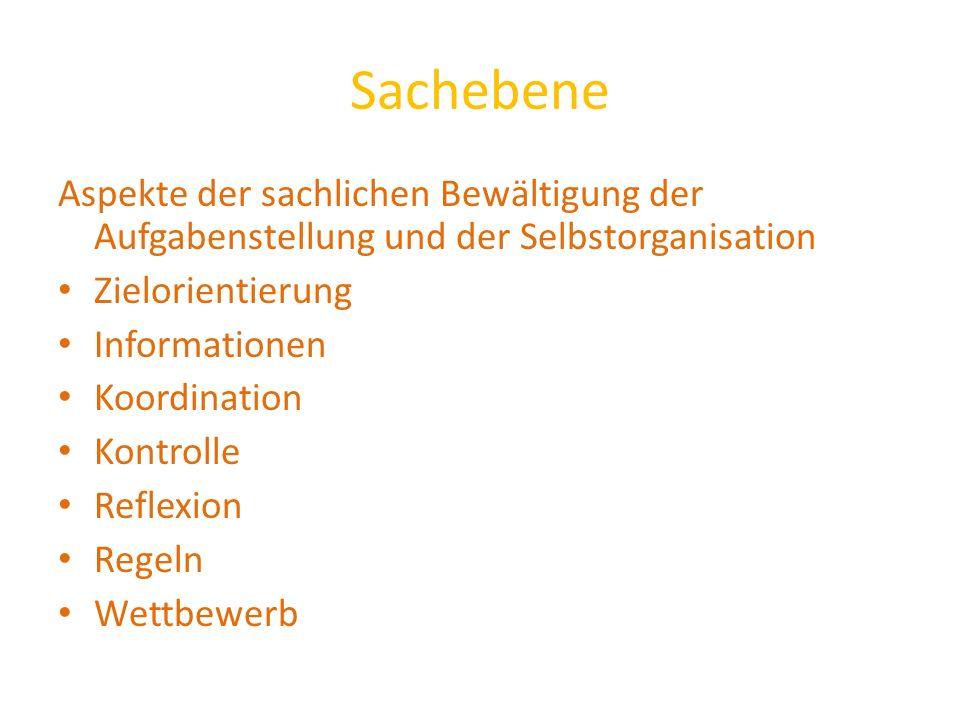 Sachebene Aspekte der sachlichen Bewältigung der Aufgabenstellung und der Selbstorganisation Zielorientierung Informationen Koordination Kontrolle Ref