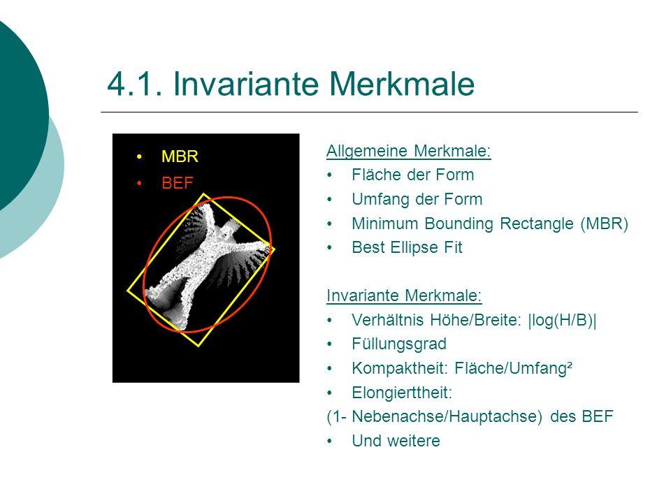 4.1. Invariante Merkmale Allgemeine Merkmale: Fläche der Form Umfang der Form Minimum Bounding Rectangle (MBR) Best Ellipse Fit Invariante Merkmale: V