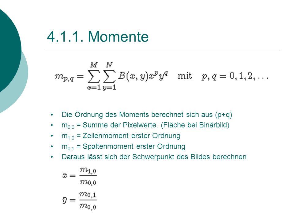 4.1.1. Momente Die Ordnung des Moments berechnet sich aus (p+q) m 0,0 = Summe der Pixelwerte. (Fläche bei Binärbild) m 1,0 = Zeilenmoment erster Ordnu