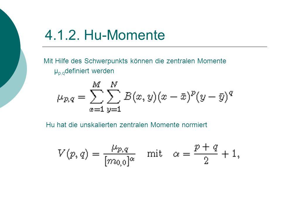 4.1.2. Hu-Momente Mit Hilfe des Schwerpunkts können die zentralen Momente μ p,q definiert werden Hu hat die unskalierten zentralen Momente normiert