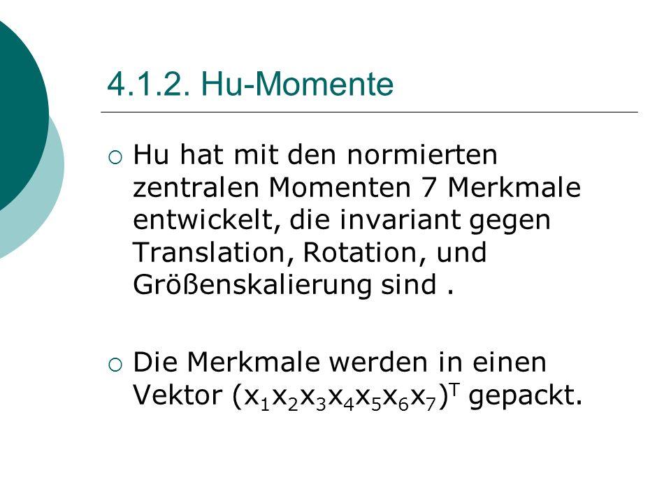 4.1.2. Hu-Momente Hu hat mit den normierten zentralen Momenten 7 Merkmale entwickelt, die invariant gegen Translation, Rotation, und Größenskalierung