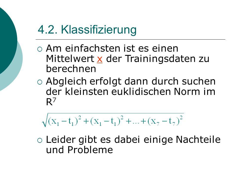 4.2. Klassifizierung Am einfachsten ist es einen Mittelwert x der Trainingsdaten zu berechnen Abgleich erfolgt dann durch suchen der kleinsten euklidi