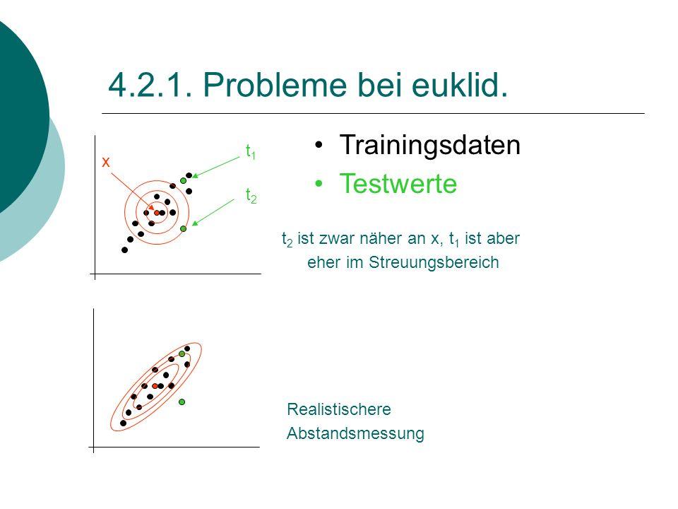 4.2.1. Probleme bei euklid. Realistischere Abstandsmessung x Trainingsdaten Testwerte t1t1 t2t2 t 2 ist zwar näher an x, t 1 ist aber eher im Streuung