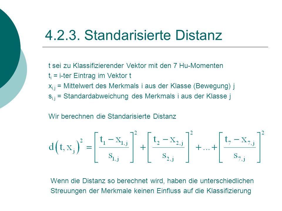 4.2.3. Standarisierte Distanz t sei zu Klassifizierender Vektor mit den 7 Hu-Momenten t i = i-ter Eintrag im Vektor t x i,j = Mittelwert des Merkmals