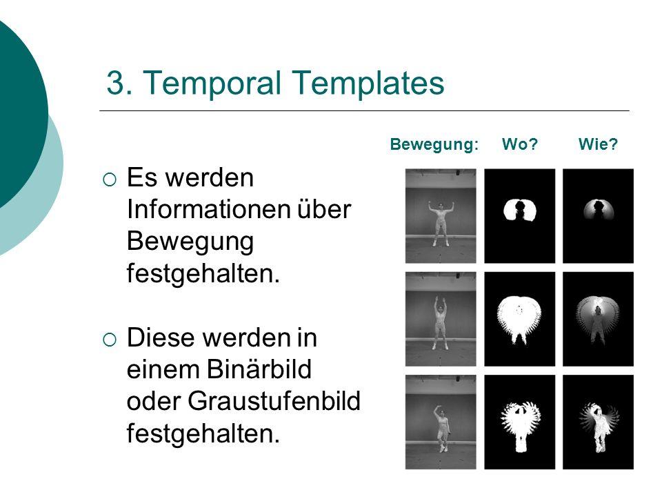 3. Temporal Templates Es werden Informationen über Bewegung festgehalten. Diese werden in einem Binärbild oder Graustufenbild festgehalten. Bewegung: