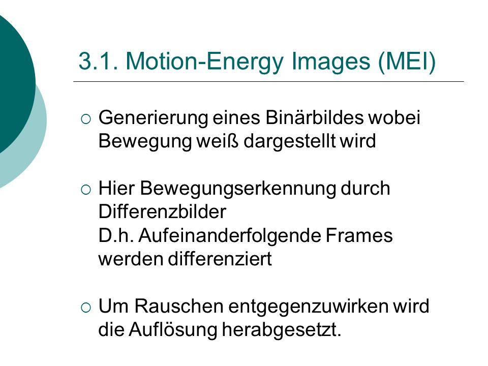3.1. Motion-Energy Images (MEI) Generierung eines Binärbildes wobei Bewegung weiß dargestellt wird Hier Bewegungserkennung durch Differenzbilder D.h.