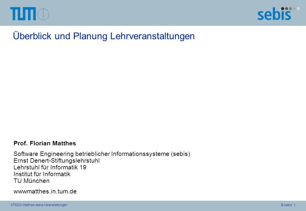 © sebis 1070223-Matthes-sebis-Veranstaltungen Überblick und Planung Lehrveranstaltungen Prof. Florian Matthes Software Engineering betrieblicher Infor