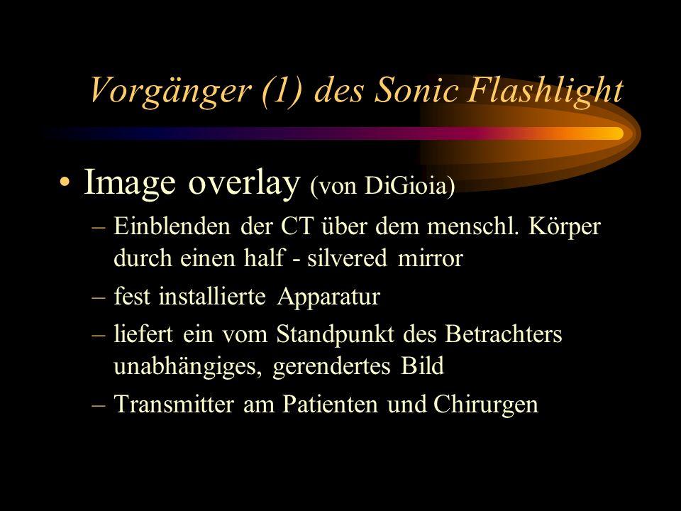 Vorgänger (1) des Sonic Flashlight Image overlay (von DiGioia) –Einblenden der CT über dem menschl. Körper durch einen half - silvered mirror –fest in