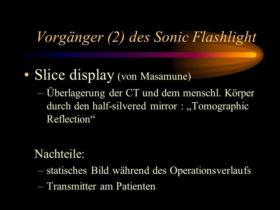 Vorgänger (2) des Sonic Flashlight Slice display (von Masamune) –Überlagerung der CT und dem menschl. Körper durch den half-silvered mirror : Tomograp
