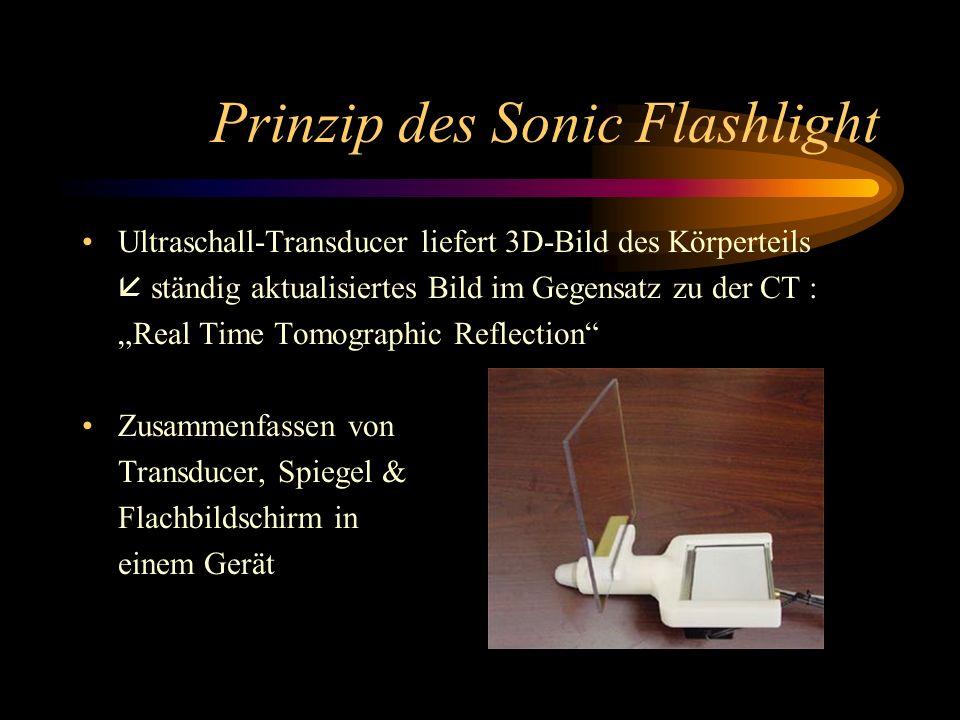 Prinzip des Sonic Flashlight Ultraschall-Transducer liefert 3D-Bild des Körperteils ständig aktualisiertes Bild im Gegensatz zu der CT : Real Time Tom