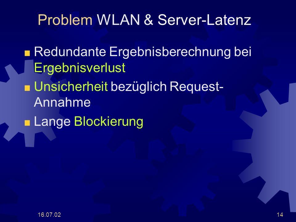 16.07.0214 Problem WLAN & Server-Latenz Redundante Ergebnisberechnung bei Ergebnisverlust Unsicherheit bezüglich Request- Annahme Lange Blockierung