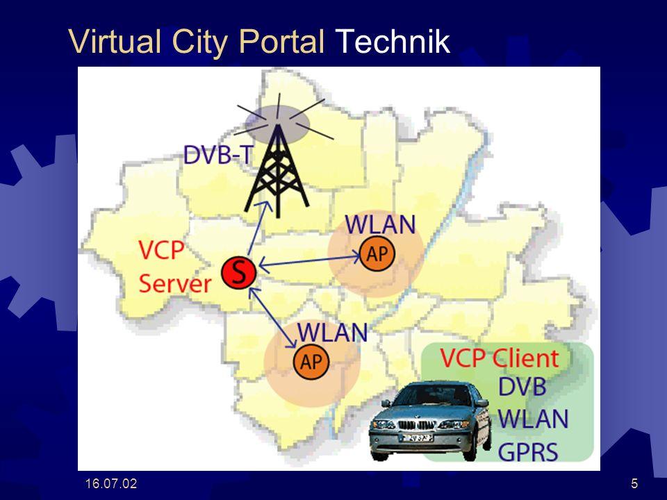 16.07.026 Virtual City Portal Vision VCP Plattform für stadtspezifische Dienste Automobiler Zugriff: Einsatz heterogener Funk-Netzwerke (DVB, WLAN, GPRS) Abdeckung eines Stadtgebietes