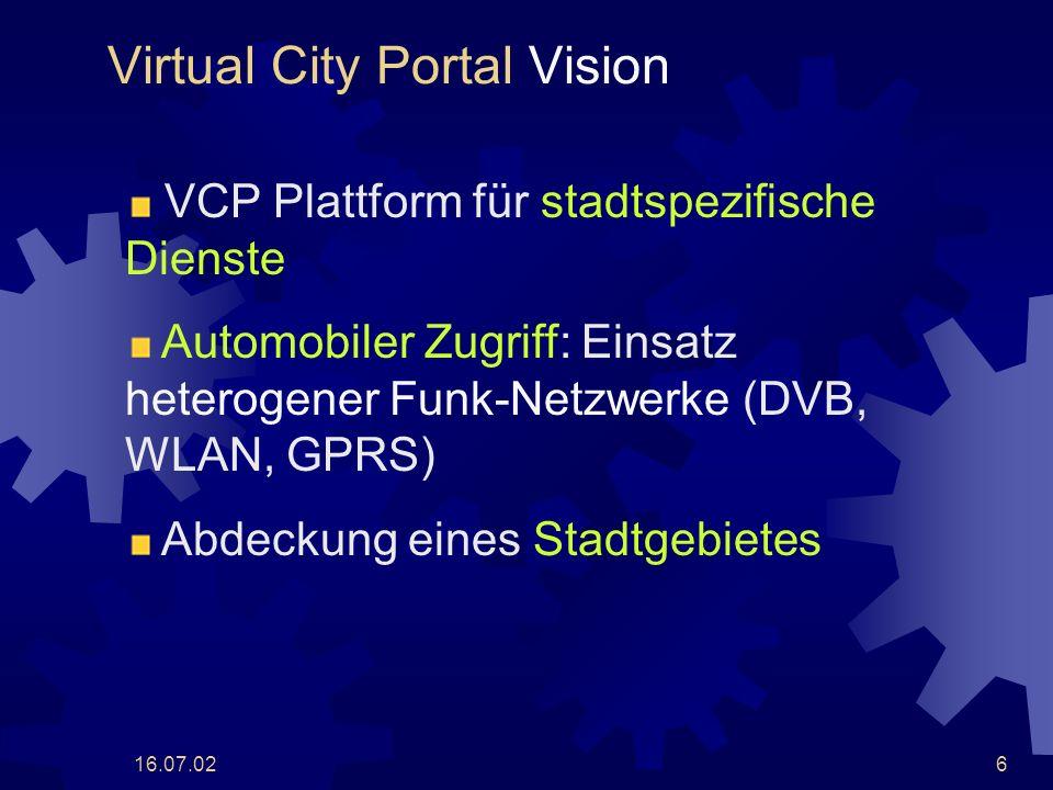 16.07.0227 Zusammenfassung VCP Plattform für stadtspezifische Dienste Prototyp implementiert Dienste fehlen Netzwerkkonfiguration aus DVB-T, WLAN und GPRS Verwendung des LKN Prototyps VCP Protokoll Wird vom Prototyp verwendet