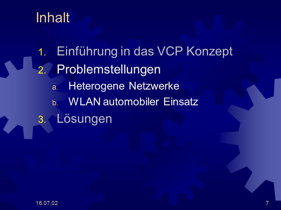 16.07.027 Inhalt 1. Einführung in das VCP Konzept 2. Problemstellungen a. Heterogene Netzwerke b. WLAN automobiler Einsatz 3. Lösungen