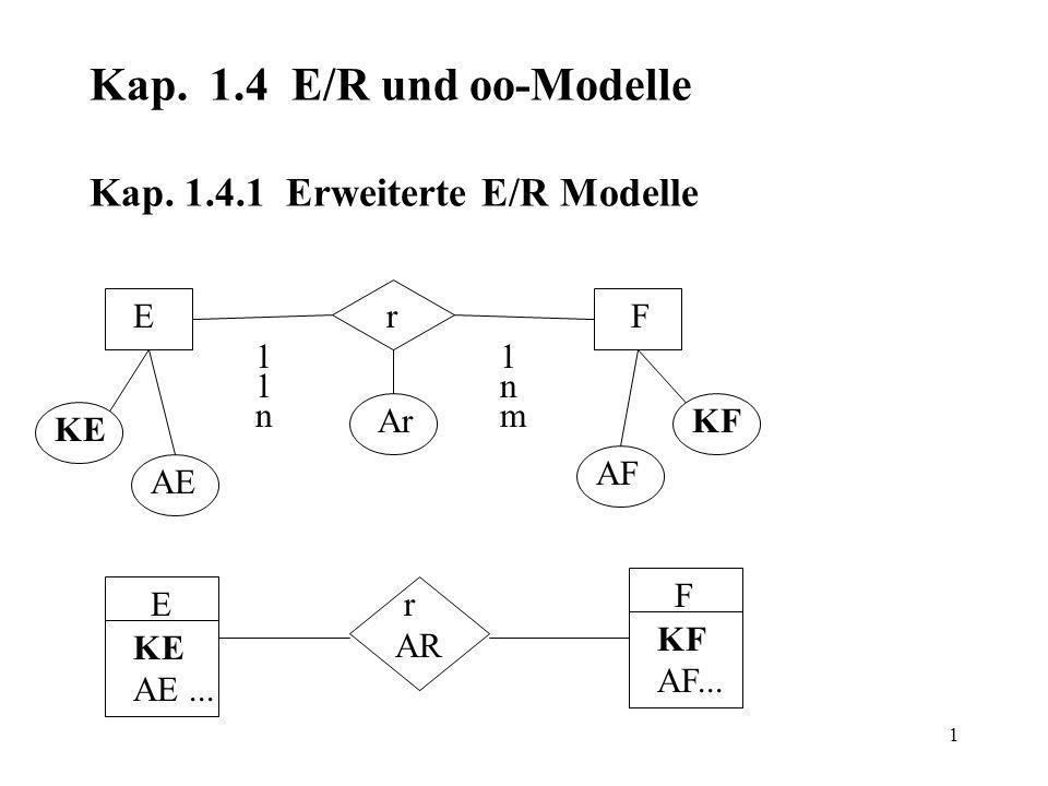 1 Kap. 1.4 E/R und oo-Modelle Kap.