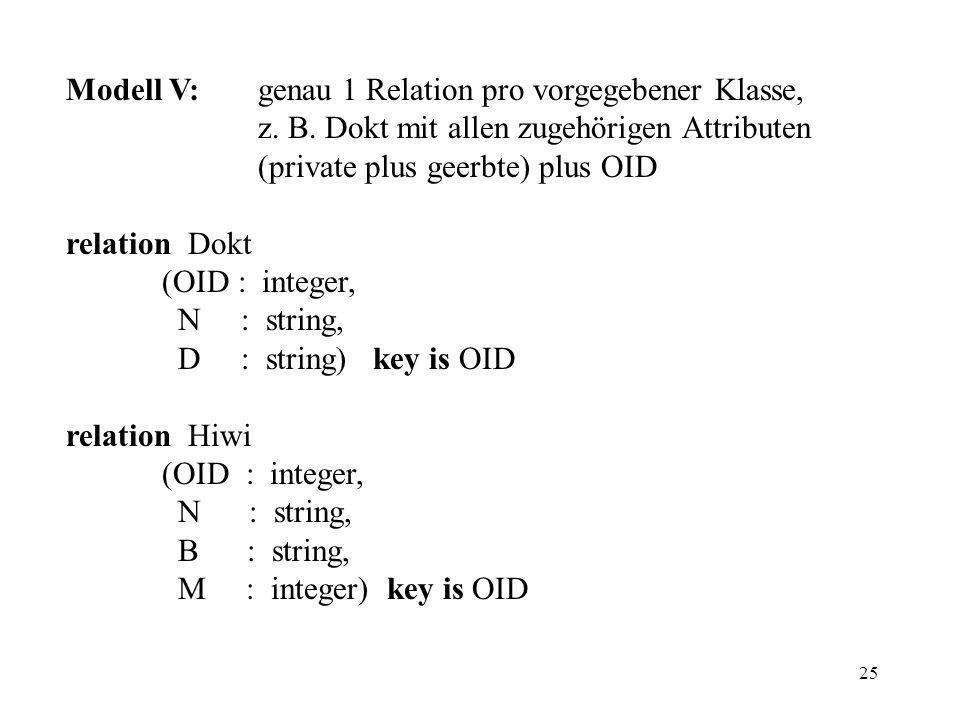 25 Modell V:genau 1 Relation pro vorgegebener Klasse, z.