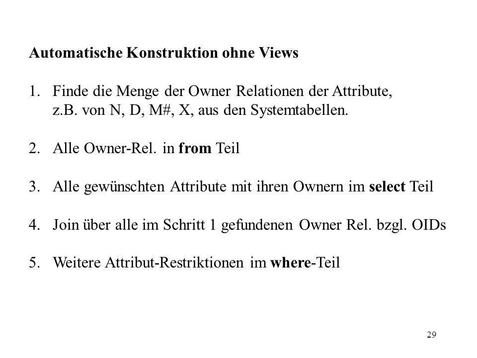 29 Automatische Konstruktion ohne Views 1.Finde die Menge der Owner Relationen der Attribute, z.B.