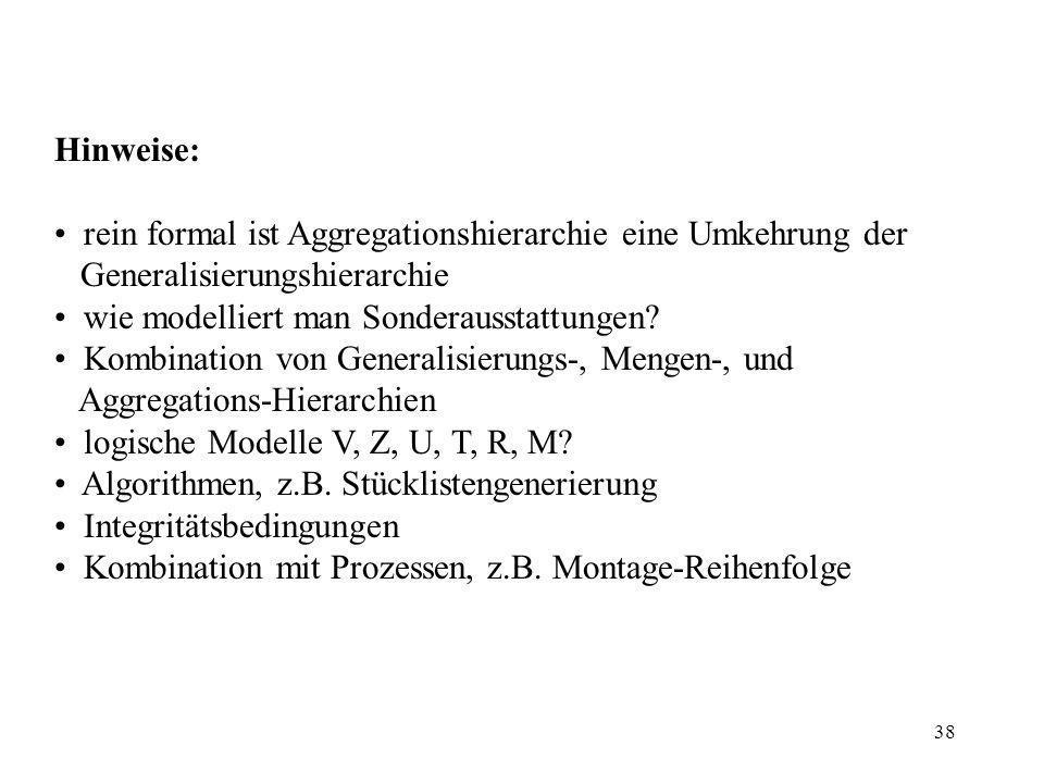 38 Hinweise: rein formal ist Aggregationshierarchie eine Umkehrung der Generalisierungshierarchie wie modelliert man Sonderausstattungen.