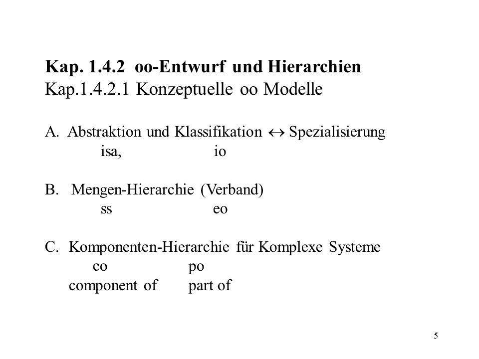 5 Kap. 1.4.2 oo-Entwurf und Hierarchien Kap.1.4.2.1 Konzeptuelle oo Modelle A.