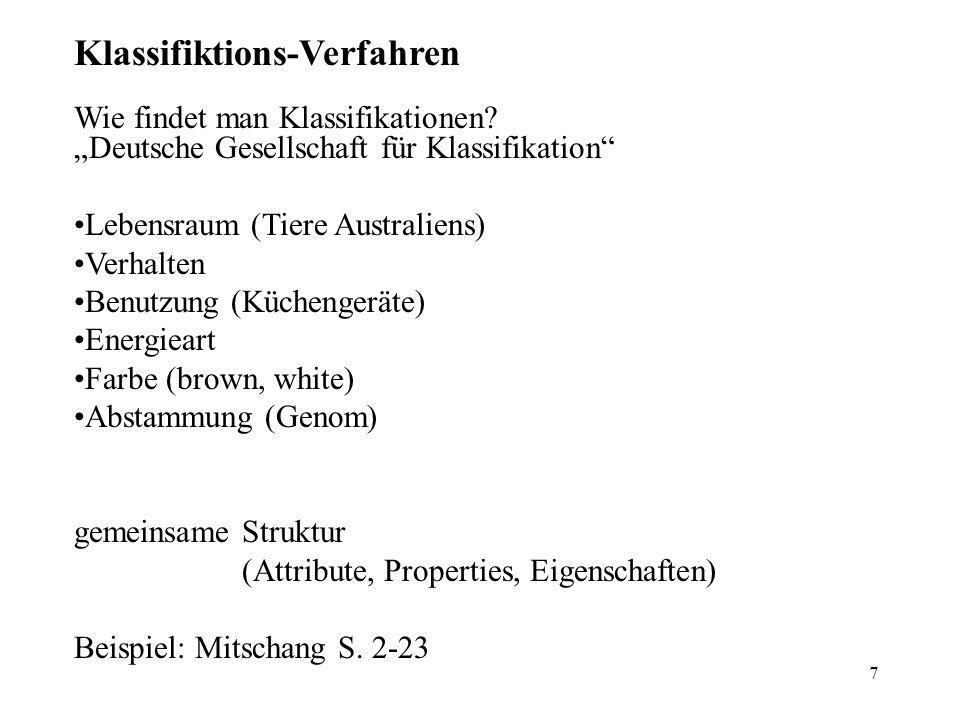 7 Klassifiktions-Verfahren Wie findet man Klassifikationen.