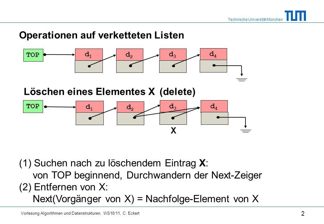 Technische Universität München Vorlesung Algorithmen und Datenstrukturen, WS10/11, C. Eckert 2 d1d1 d2d2 d3d3 TOP d4d4 d1d1 d2d2 d4d4 Löschen eines El