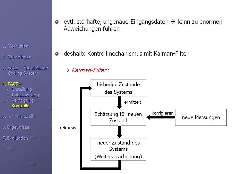evtl. störhafte, ungenaue Eingangsdaten kann zu enormen Abweichungen führen deshalb: Kontrollmechanismus mit Kalman-Filter Kalman-Filter : 1. Motivati
