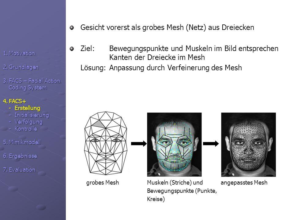 Gesicht vorerst als grobes Mesh (Netz) aus Dreiecken Ziel: Bewegungspunkte und Muskeln im Bild entsprechen Kanten der Dreiecke im Mesh Lösung: Anpassu