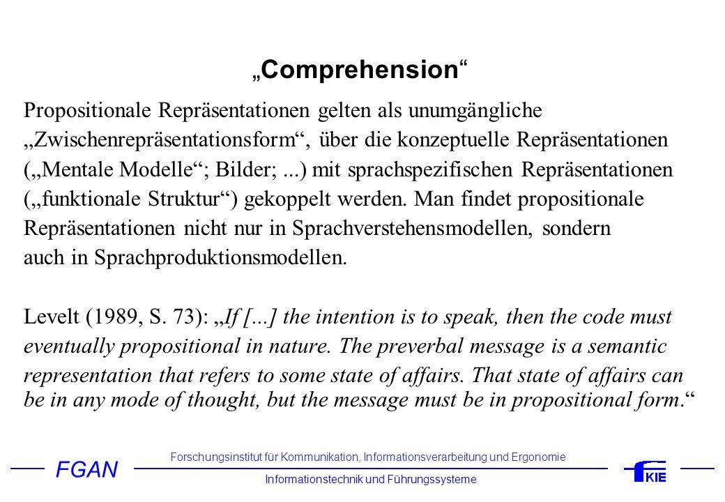 FGAN Informationstechnik und Führungssysteme Forschungsinstitut für Kommunikation, Informationsverarbeitung und Ergonomie Comprehension Beispiel 1 (Kintsch, 1998, S.