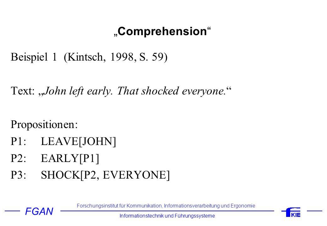 FGAN Informationstechnik und Führungssysteme Forschungsinstitut für Kommunikation, Informationsverarbeitung und Ergonomie Comprehension Beispiel 2 (Garrod et al., 1994; Kintsch, 1998, S.