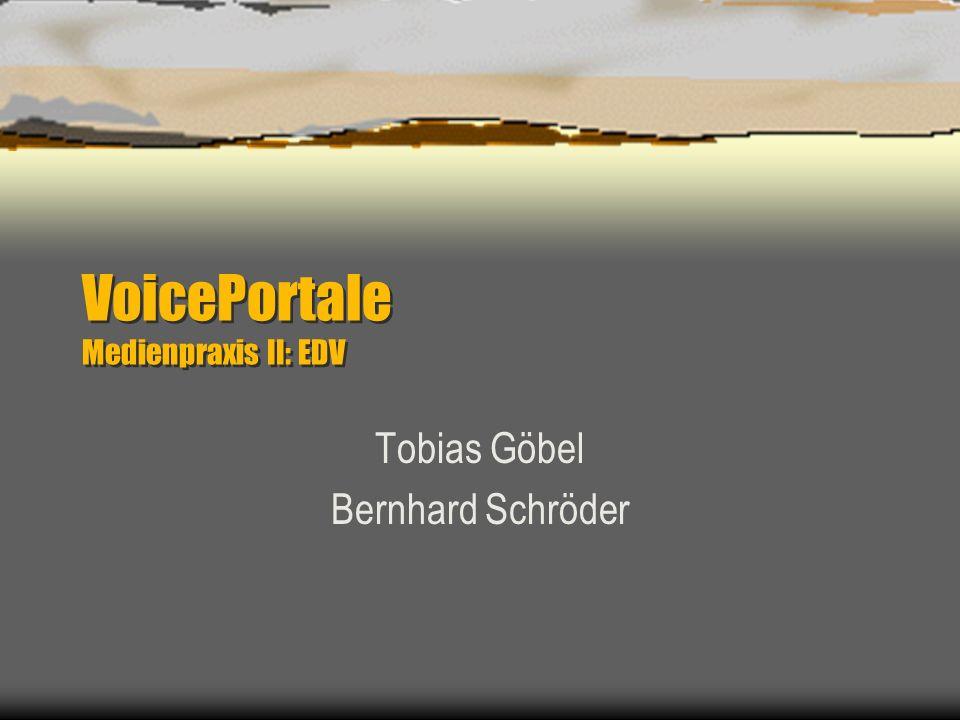 VoicePortale Medienpraxis II: EDV Tobias Göbel Bernhard Schröder