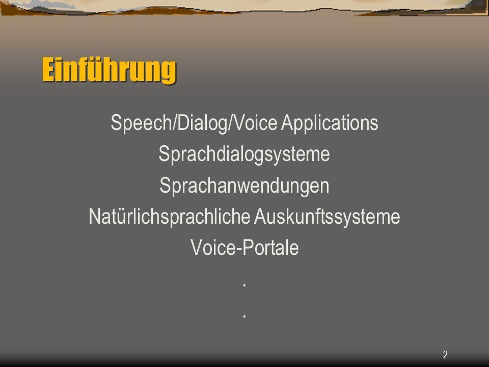 2 Einführung Speech/Dialog/Voice Applications Sprachdialogsysteme Sprachanwendungen Natürlichsprachliche Auskunftssysteme Voice-Portale..