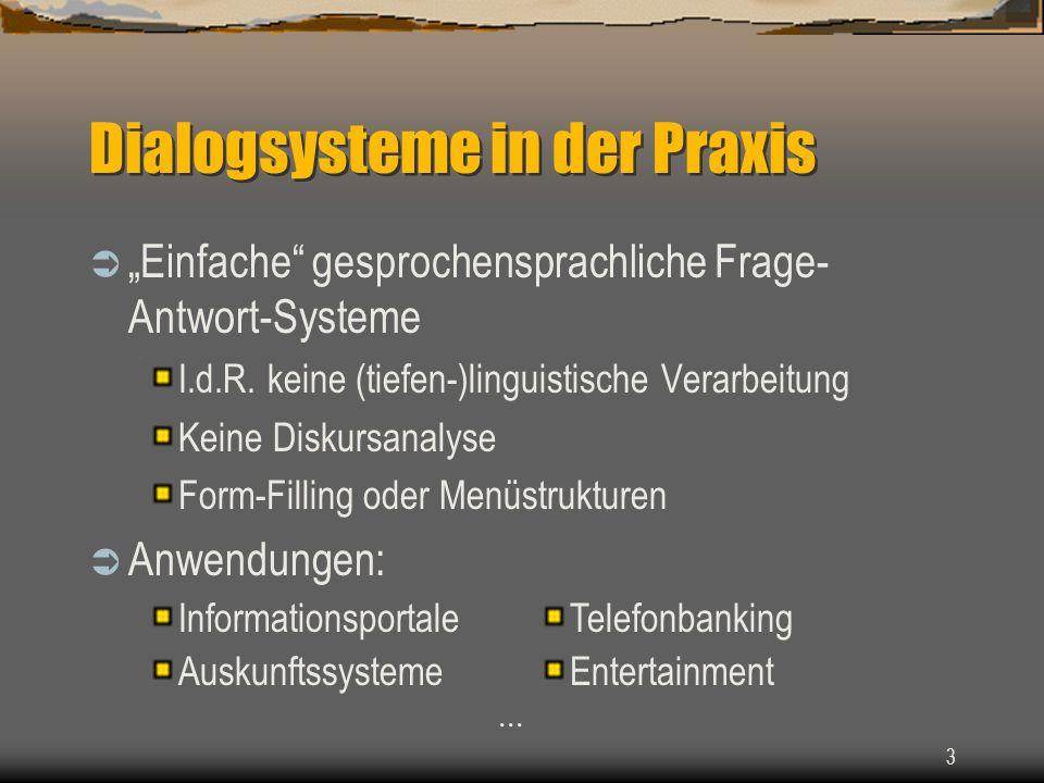 3 Dialogsysteme in der Praxis Einfache gesprochensprachliche Frage- Antwort-Systeme I.d.R.