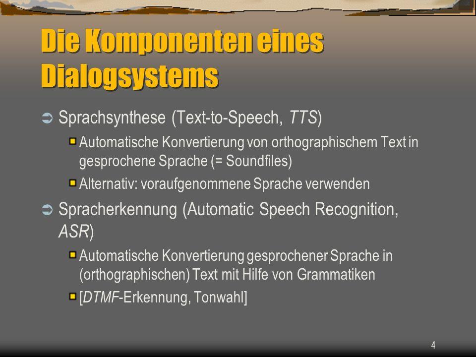 4 Die Komponenten eines Dialogsystems Sprachsynthese (Text-to-Speech, TTS ) Automatische Konvertierung von orthographischem Text in gesprochene Sprache (= Soundfiles) Alternativ: voraufgenommene Sprache verwenden Spracherkennung (Automatic Speech Recognition, ASR ) Automatische Konvertierung gesprochener Sprache in (orthographischen) Text mit Hilfe von Grammatiken [ DTMF -Erkennung, Tonwahl]