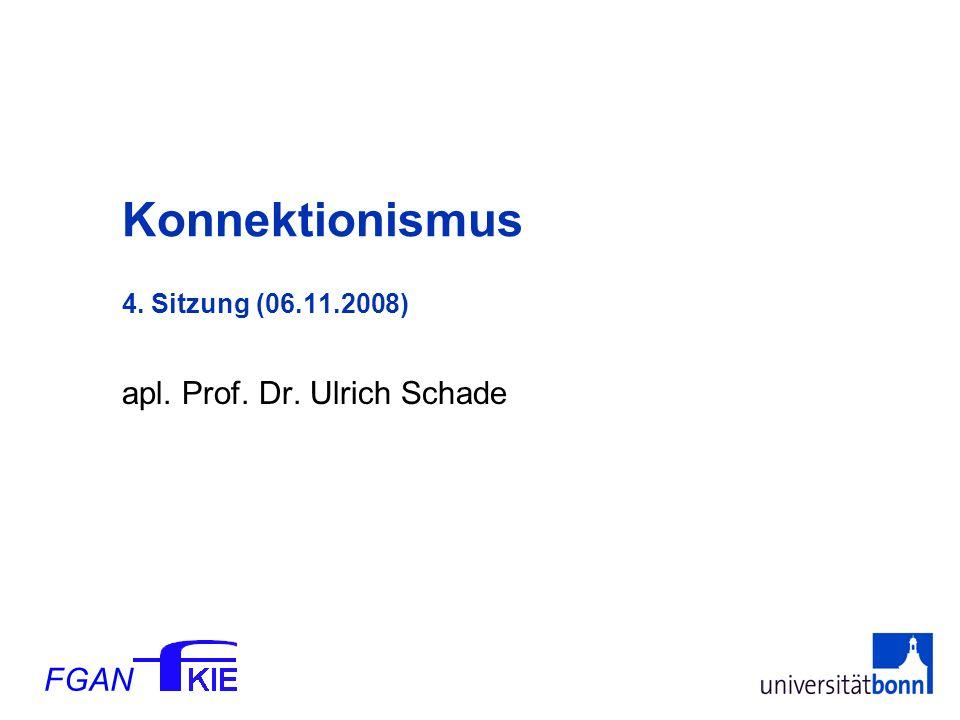FGAN apl. Prof. Dr. Ulrich Schade Konnektionismus 4. Sitzung (06.11.2008)