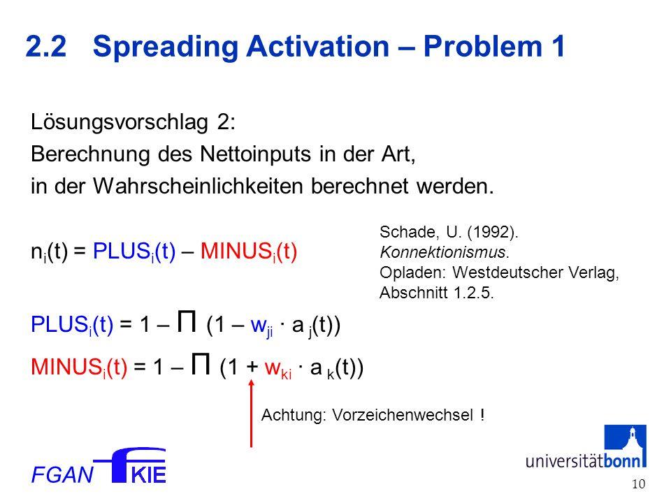 FGAN 10 2.2 Spreading Activation – Problem 1 Lösungsvorschlag 2: Berechnung des Nettoinputs in der Art, in der Wahrscheinlichkeiten berechnet werden.